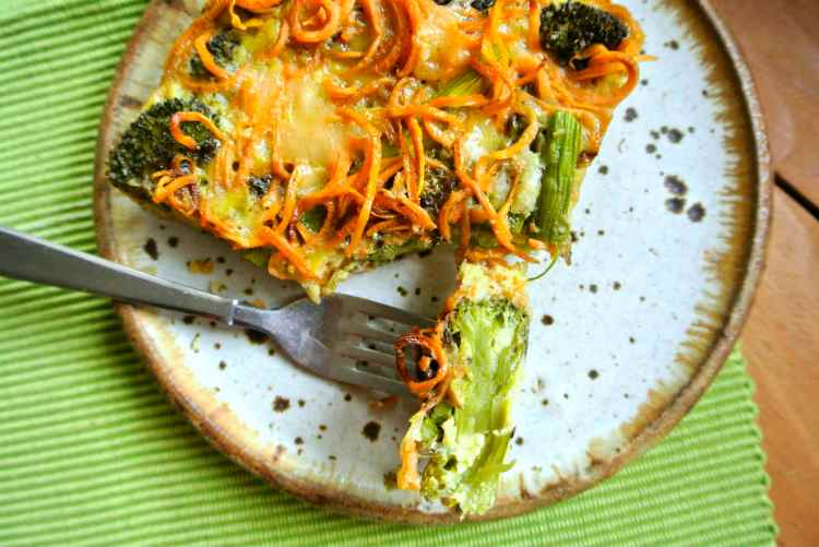 Sweet Potato Asparagus and Broccoli Egg Bake