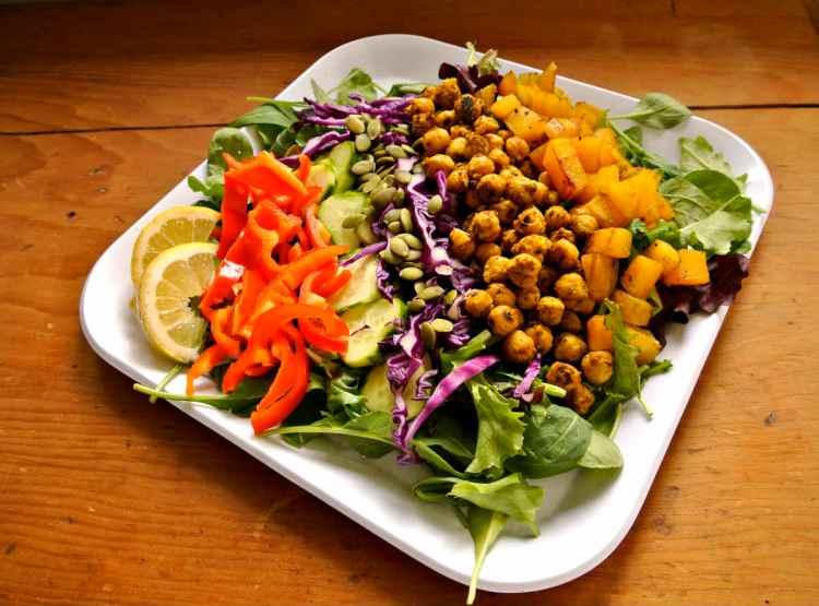 Vegan Rainbow Lemon Curry Salad